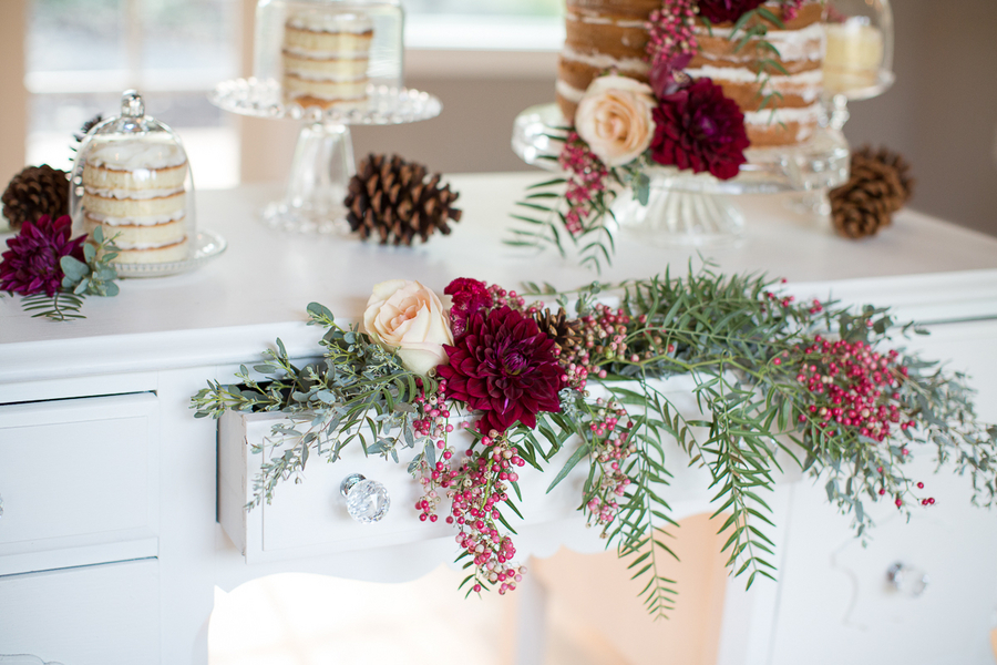Brilliant Idea! Using a Desk as a Dessert Table with Florals spilling out from the Drawer / photo by Ashley Cook Photography / as seen on www.BrendasWeddingBlog.com