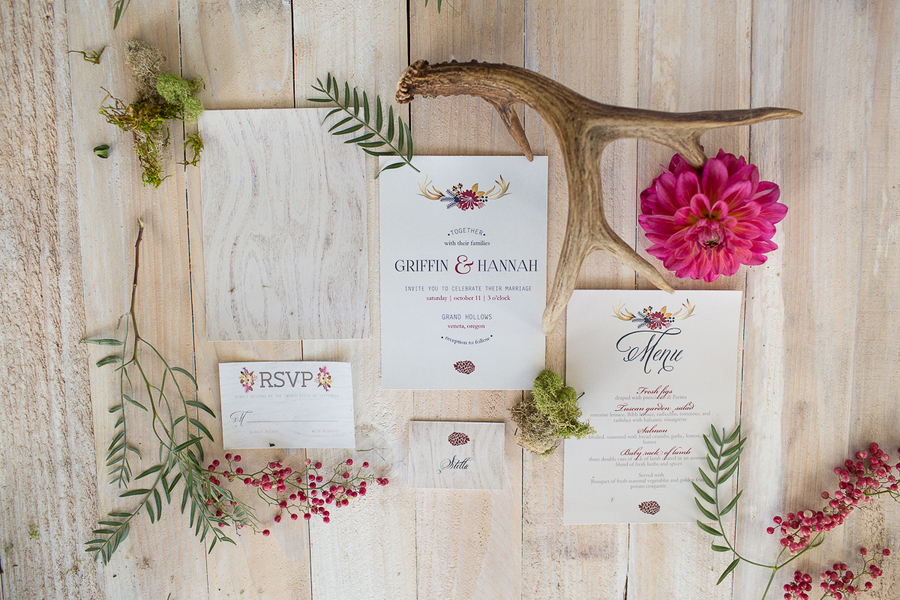 Woodsy Themed Wedding Invitation Suite by Olive Juice & Co / photo by Ashley Cook Photography / as seen on www.BrendasWeddingBlog.com