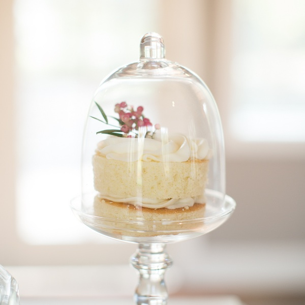 Mini Naked Wedding Cake under Glass Dome by Heavenly Delights Cupcakery / photo by Ashley Cook Photography / as seen on www.BrendasWeddingBlog.com