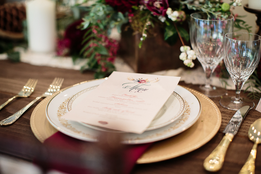 Elegant Woodsy Themed Wedding Menu / photo by Ashley Cook Photography / as seen on www.BrendasWeddingBlog.com