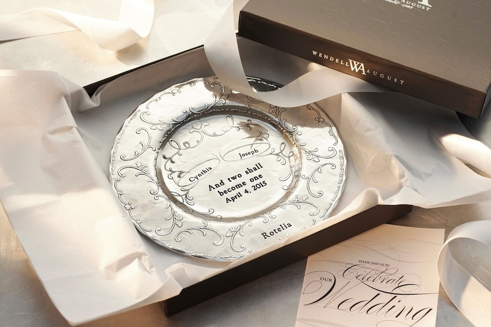 Personalized With This Ring Decorative Metal Plate from Wendell August / $85 | as seen on www.BrendasWeddingBlog.com