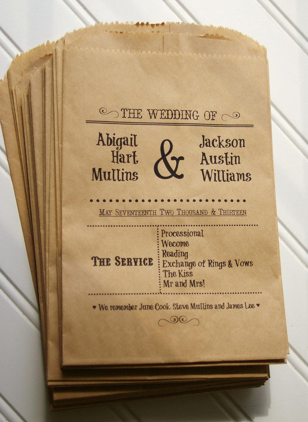 unique wedding programs menus as seen in bridal guide