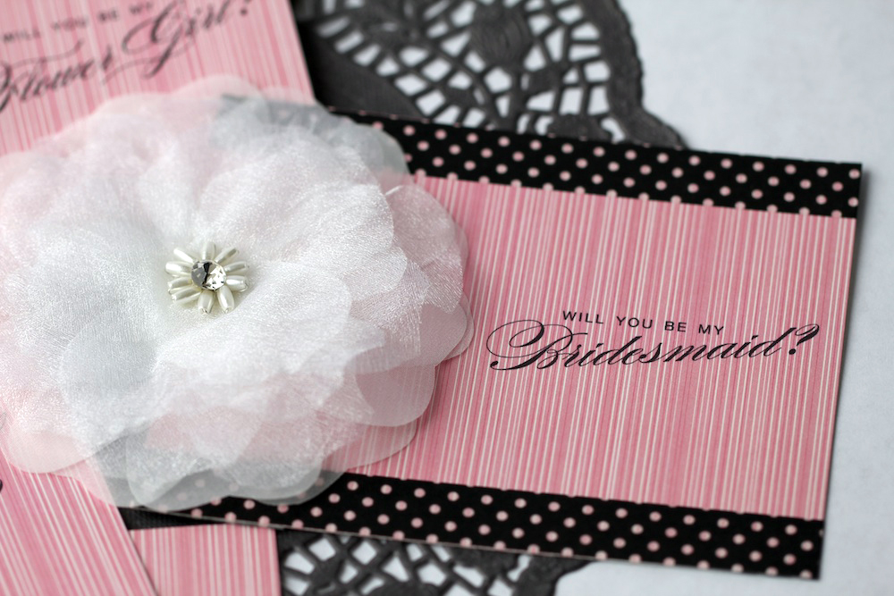 "Free ""Will You Be My Bridesmaid"" Printable Cards Embellished with a Flower Clip from www.BrendasWeddingBlog.com"