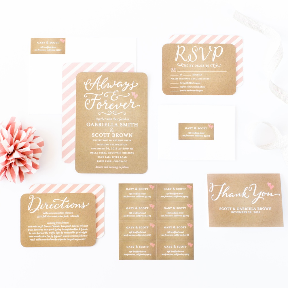 LOVE the Kraft Brown Paper with Pink Stripes in this Forever Hearts Wedding Invitation Suite from Shutterfly / as seen on www.BrendasWeddingBlog.com