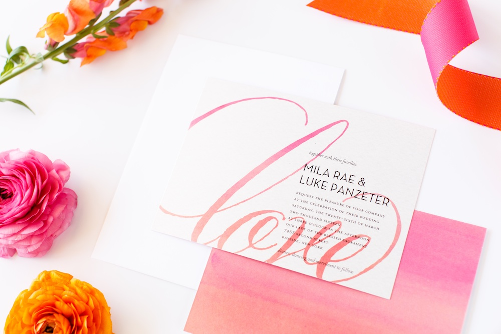 Love the Pink and Orange Watercolors in this Love Never Fades Wedding Invitation from Shutterfly / as seen on www.BrendasWeddingBlog.com