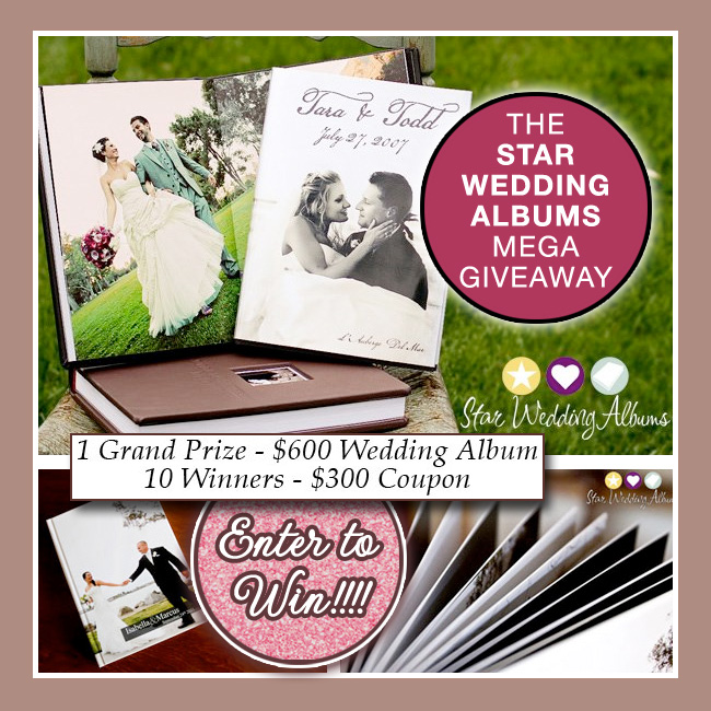 Star Wedding Albums Giveaway | Grand Prize is a $600 Wedding Album {includes 10 other winners} / as seen on www.BrendasWeddingBlog.com