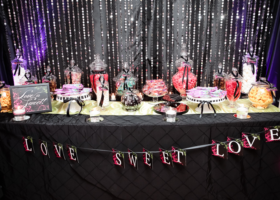 elegant love sweet love candy buffet with a sequined backdrop - created by Madeline's Weddings & Events / as seen on www.BrendasWeddingBlog.com