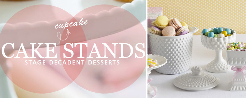 cakestands and cupcake stands are the perfect choice for holding the sweets in a candy buffet / as seen on www.BrendasWeddingBlog.com