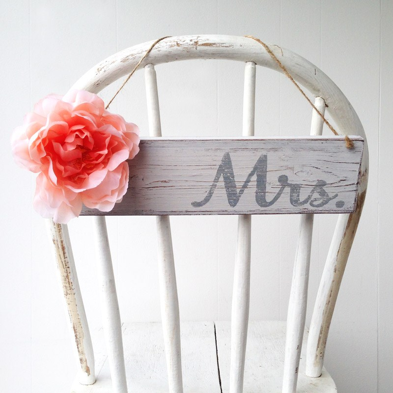 Wooden Wedding Mrs Sign decorated with a large silk flower / as seen on www.BrendasWeddingBlog.com