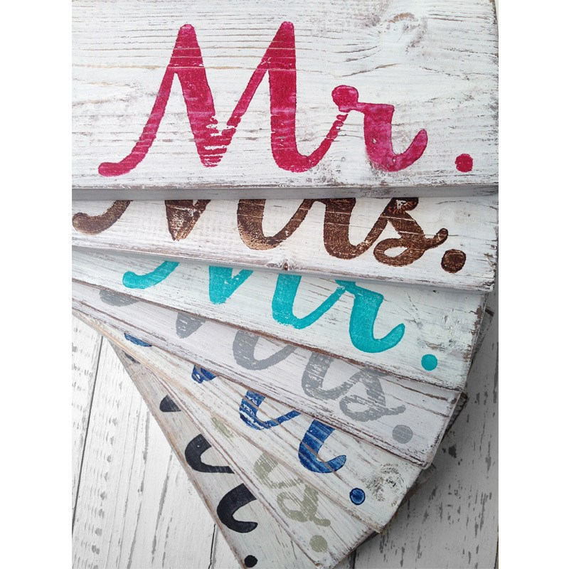 Mr and Mrs Handmade Wooden Wedding Chair Signs / as seen on www.BrendasWeddingBlog.com