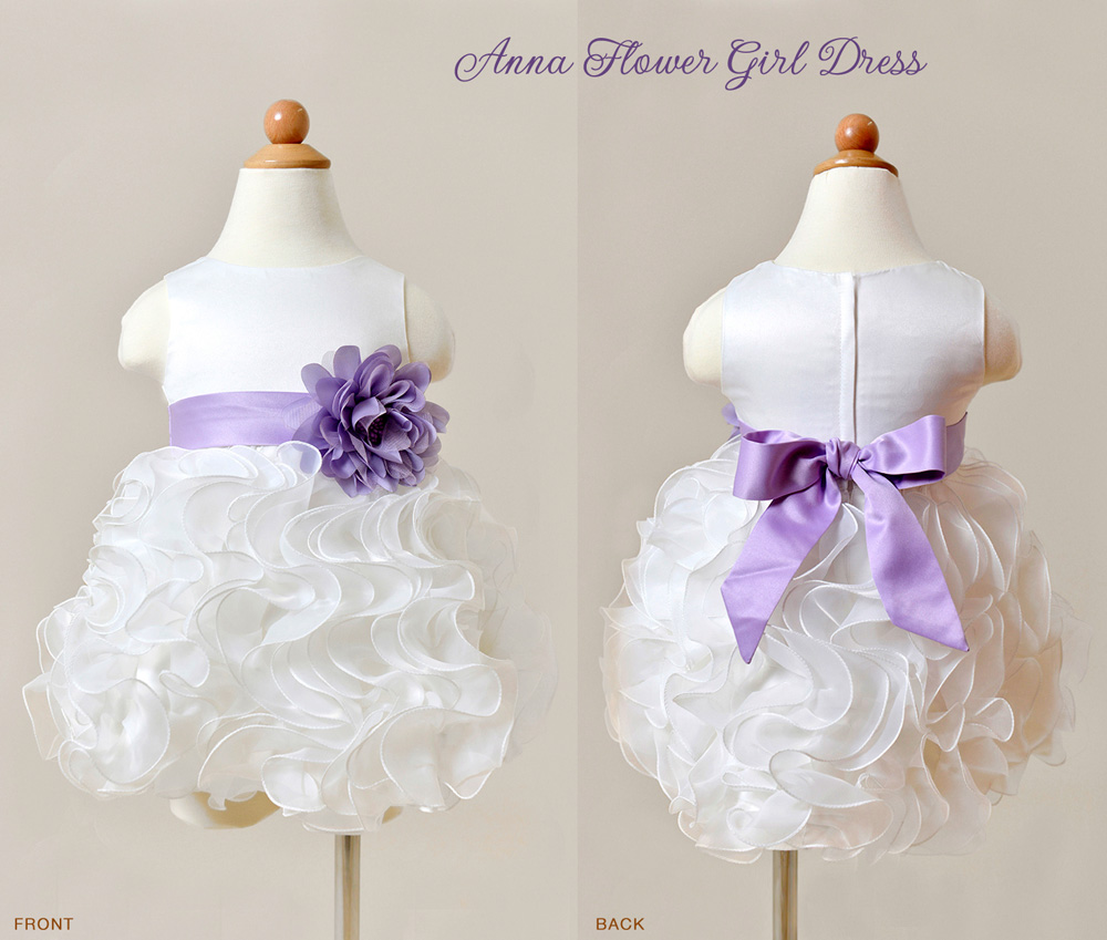 Anna Flower Girl Dress with organza ruffles and purple sash / as seen on www.BrendasWeddingBlog.com