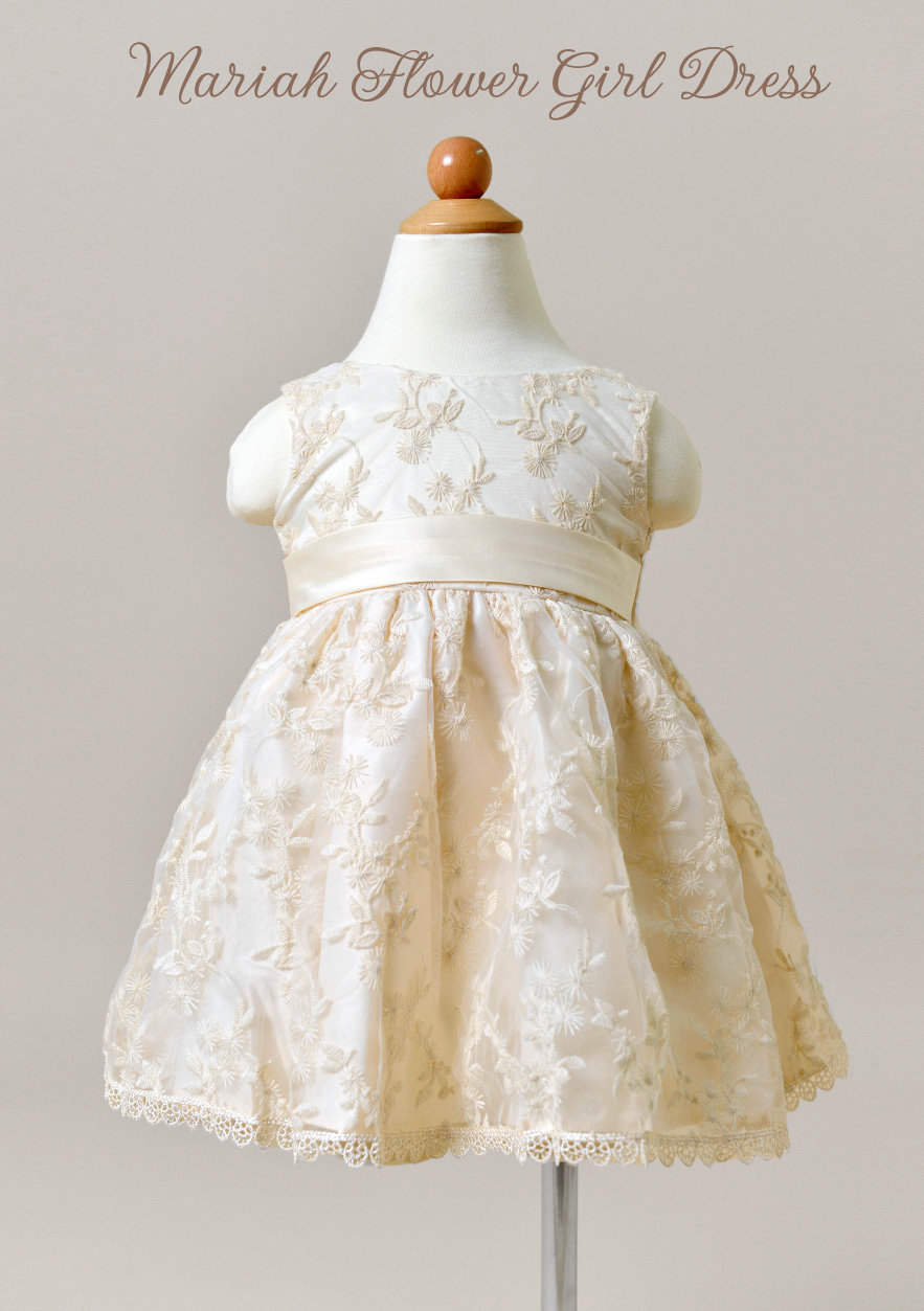 Mariah Flower Girl Dress with lace and a satin belt / as seen on www.BrendasWeddingBlog.com