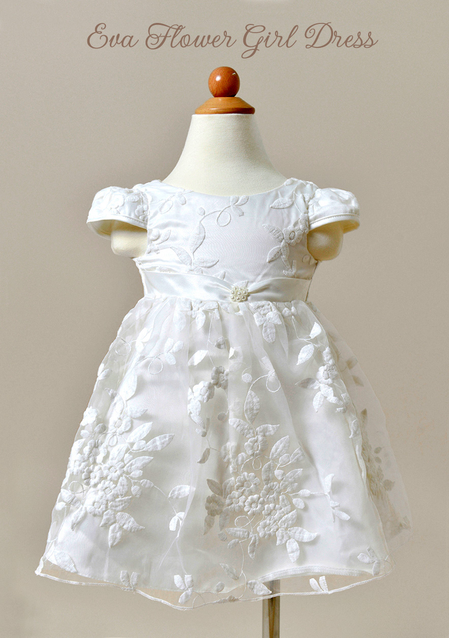 Eva Flower Girl Dress in Ivory with lace and a satin belt / as seen on www.BrendasWeddingBlog.com