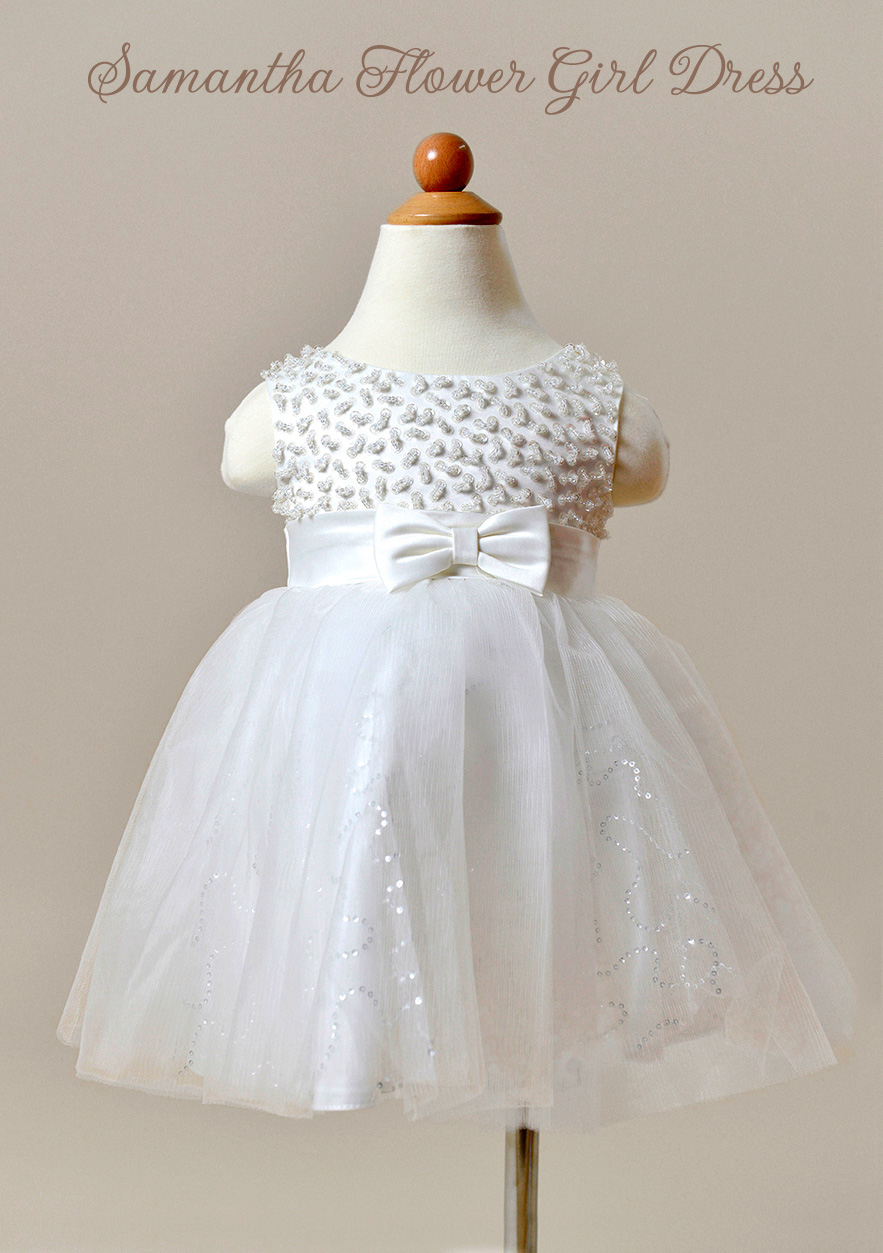 Samantha Flower Girl Dress in Ivory with lace and a satin belt / as seen on www.BrendasWeddingBlog.com