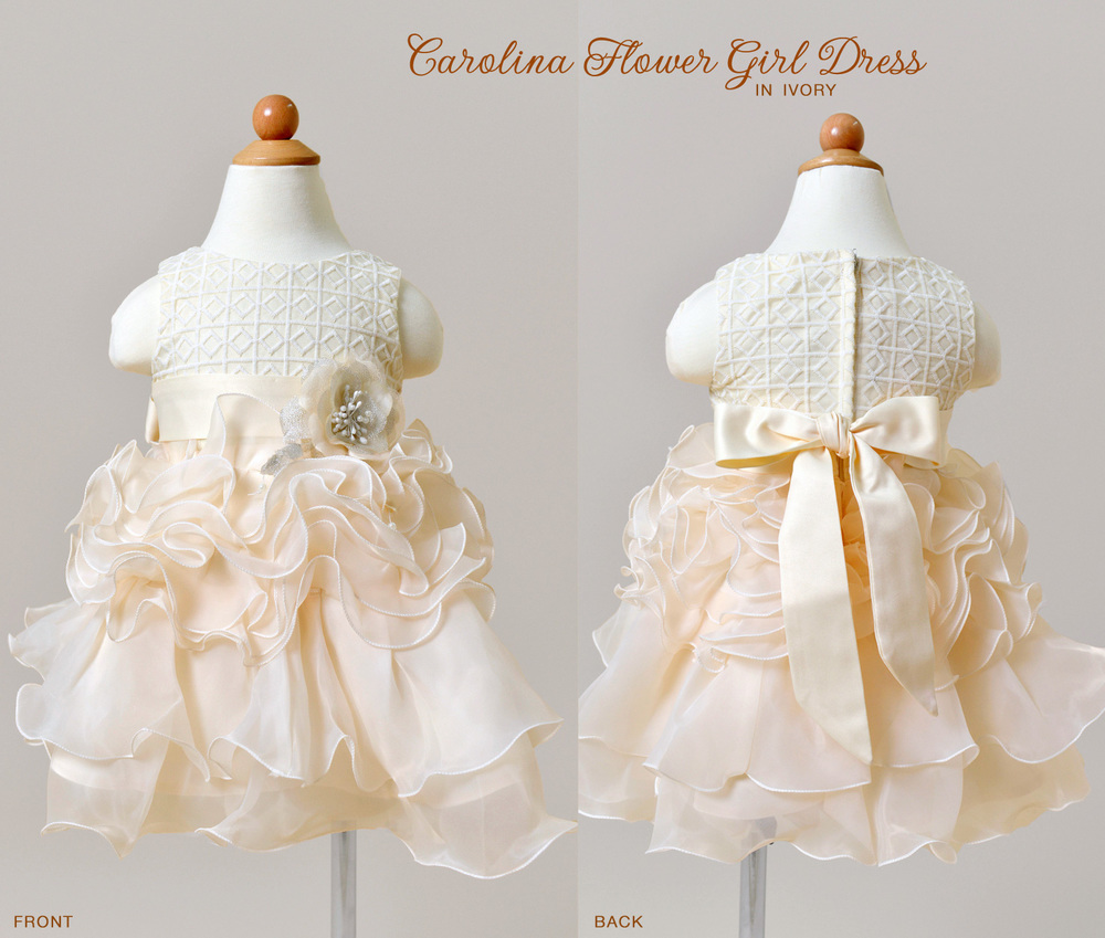 Carolina Flower Girl Dress in Ivory with lace and a satin belt / as seen on www.BrendasWeddingBlog.com