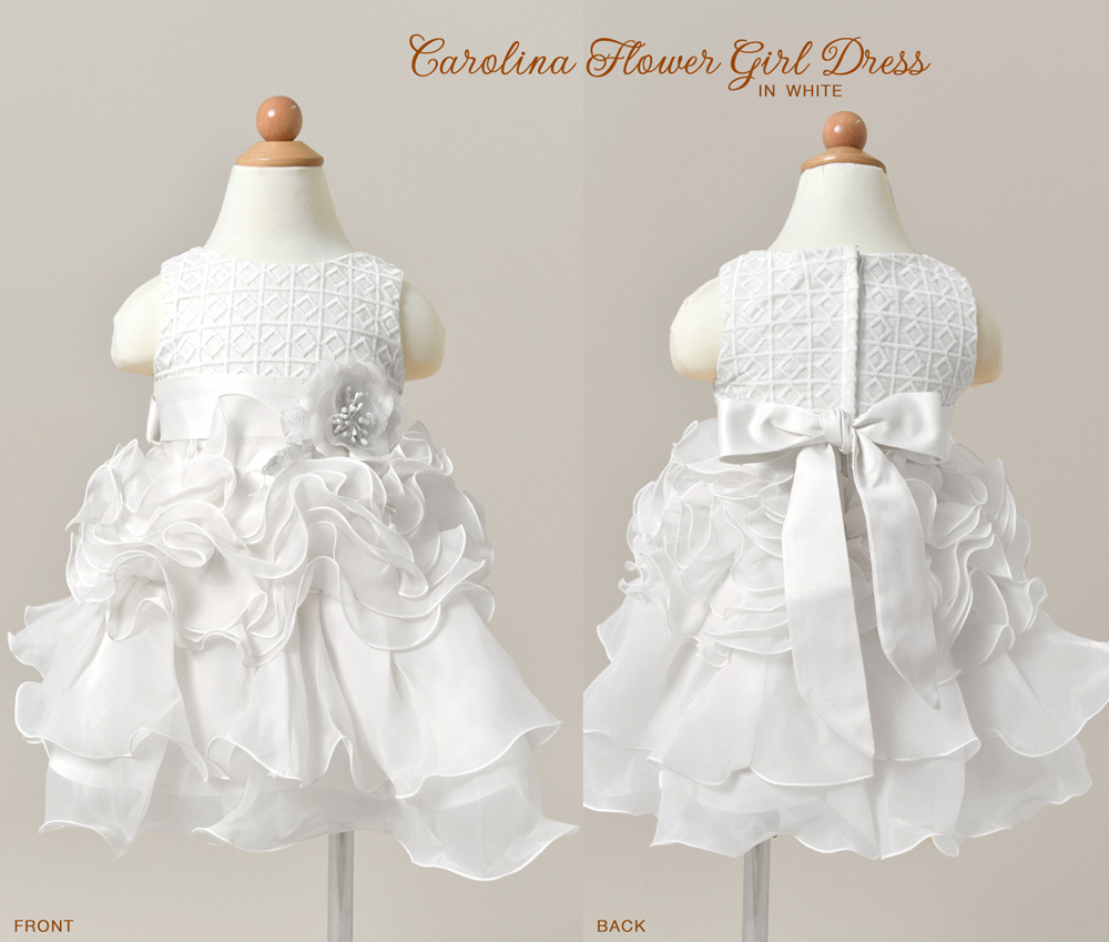 Carolina Flower Girl Dress in White with flounce skirt and lace bodice / as seen on www.BrendasWeddingBlog.com