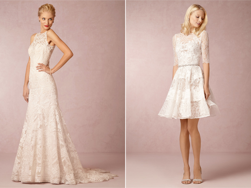 BHLDN Ceremony Wedding Dress: Adalynn Gown | Reception Wedding Dress: Barletta Dress