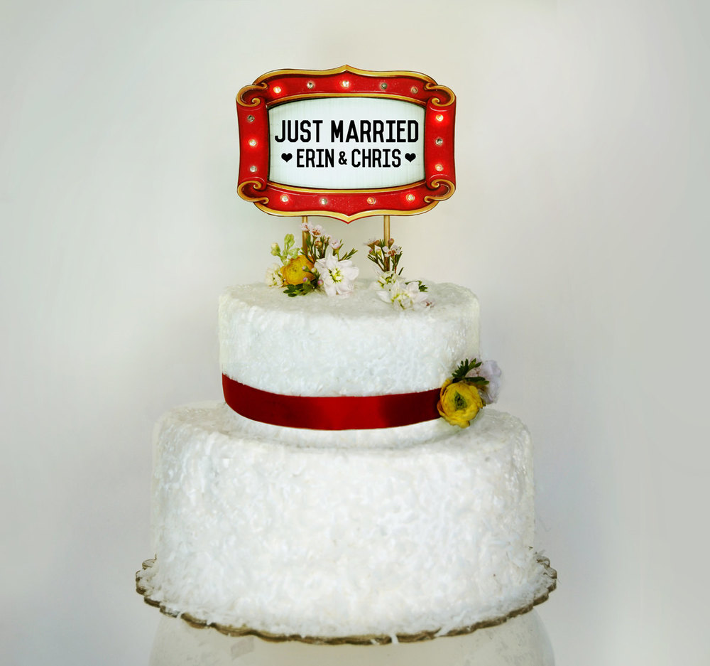 Just Married Custom Marquee Lights Wedding Cake Topper Sign / as seen on www.BrendaWeddingBlog.com