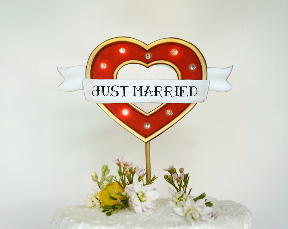 Custom Wedding Cake Topper Marquee Lights Sign with Tattooed Heart / as seen on www.BrendasWeddingBlog.com