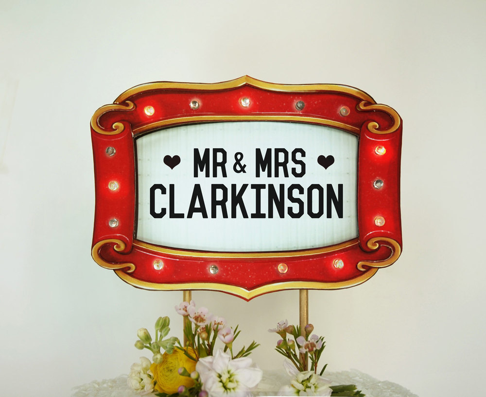Custom Wedding Cake Topper Marquee Lights Sign / as seen on www.BrendasWeddingBlog.com