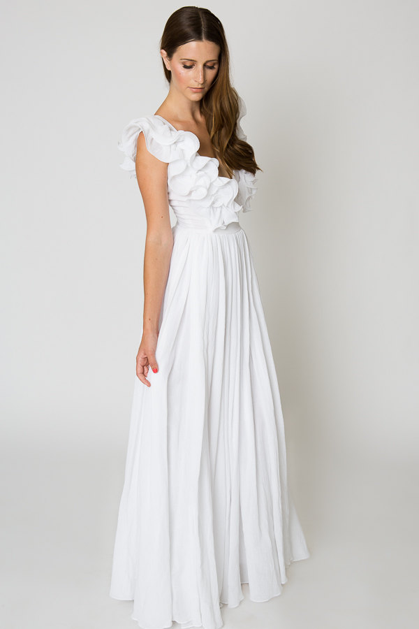 Ruffled Bohemian Wedding Dress from Dreamers and Lovers / as seen on www.BrendasWeddingBlog.com