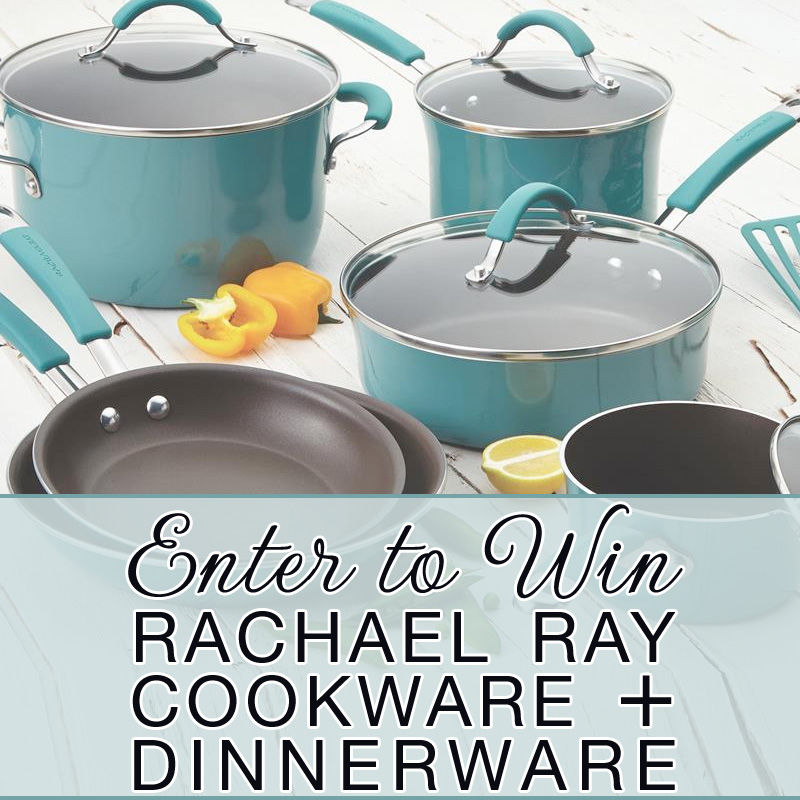 You could be the lucky winner of a Rachael Ray Cookware and Dinnerware Set