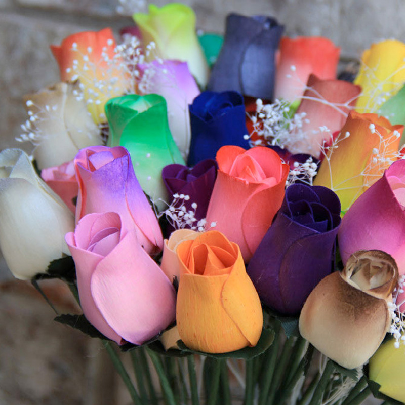 Rainbow Wooden Rose Bouquet | Ever Lasting Wooden Flowers that Smell Like Real Ones