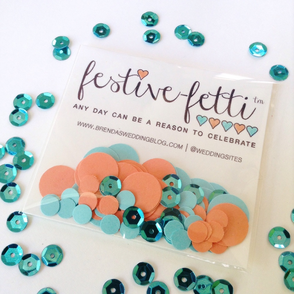 Celebrate Your Summer Parties with festive-fetti™ - Custom Confetti with Free Personalization. Shown Here in Coral + Aqua