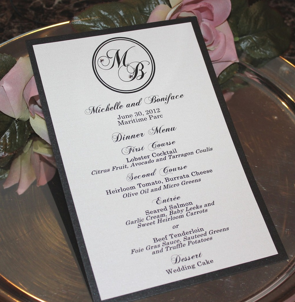 Elegant Black and White Monogrammed Wedding Menu / from RSVP Custom Creations
