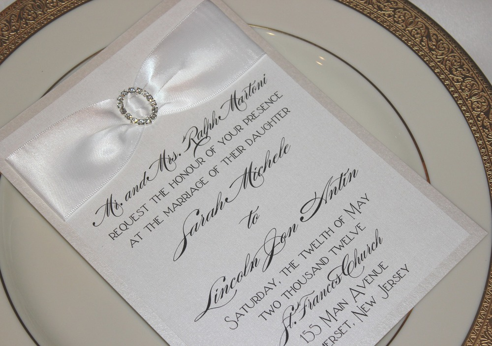 Classic Black and White Wedding Invitation with a Satin Sash + Rhinestone Buckle Embellishment / from RSVP Custom Creations