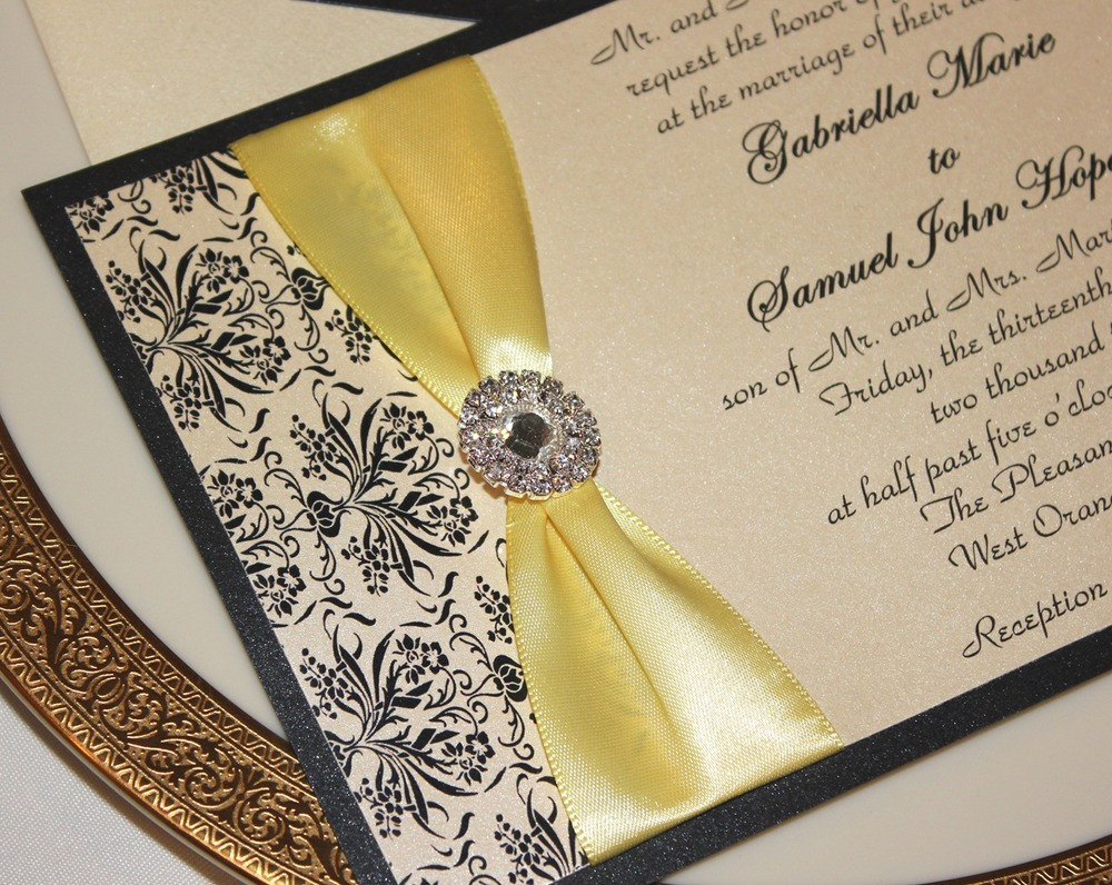 Beautiful Black and Ivory Wedding Invitation with a Satin Sash + Rhinestone Embellishment / from RSVP Custom Creations