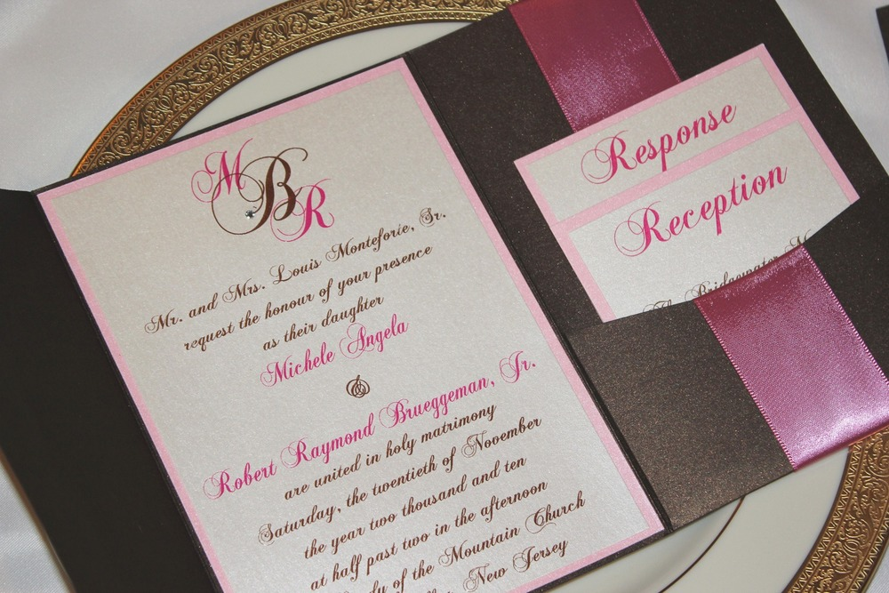 Chocolate Brown and Fuchsia Pink Pocketfold Wedding Invitation / from RSVP Custom Creations