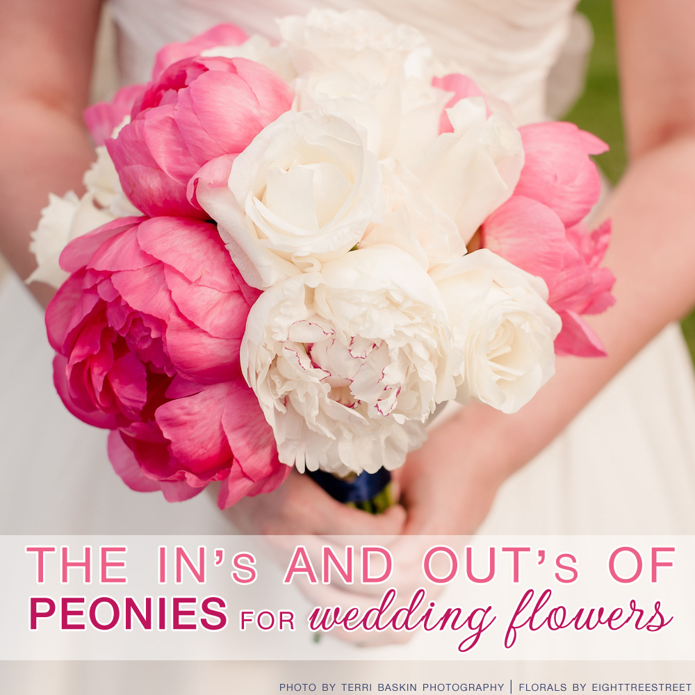 The In's and out's of peonies for wedding flowers / photo by terri baskin / florals by eighttreestreet