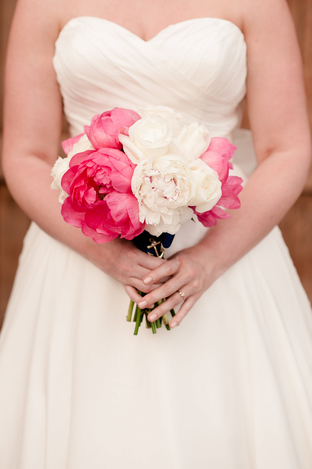 Lush Pink and White Peony Wedding Bouquet / designed by EightTreeStreet / photo by Terri Baskin Photography