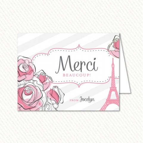 Parisian Themed Bridal Shower Thank You Cards