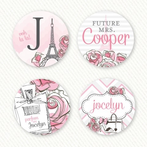 Parisian Themed Bridal Shower Favor Tags