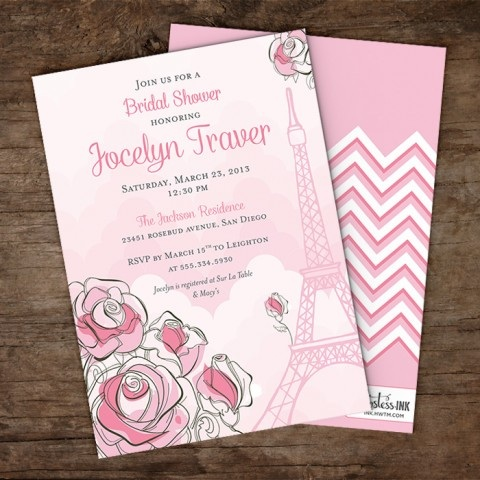 Parisian Themed Bridal Shower Invitation
