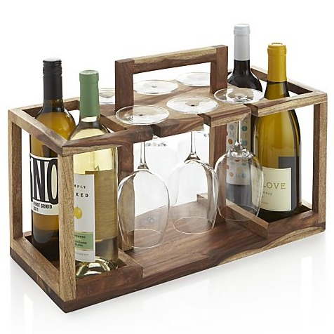 Effortlessly move the party to the living room or backyard with this Wine Bottle and Glass Caddy