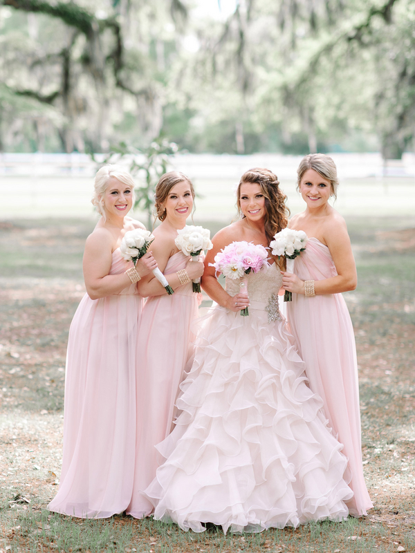 Bride in Vera Wang Wedding Gown, Bridesmaids in Pink Dresses by Allure : photo by Pasha Belman Photography