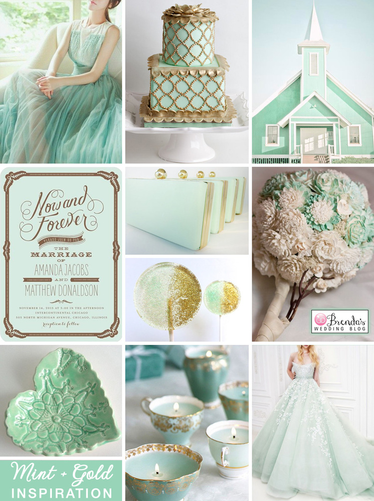 A Dreamy Mint and Gold Wedding Inspiration Board