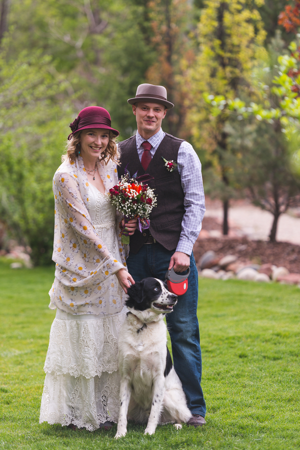 The Fun Wedding Portrait of the Bride and Groom with their Dog / photo by Annabelle Denmark Photography
