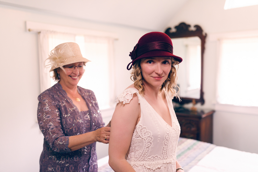 The Bride and Mom in their Hats Getting Ready for a Colorado Wedding / photo by Annabelle Denmark Photography