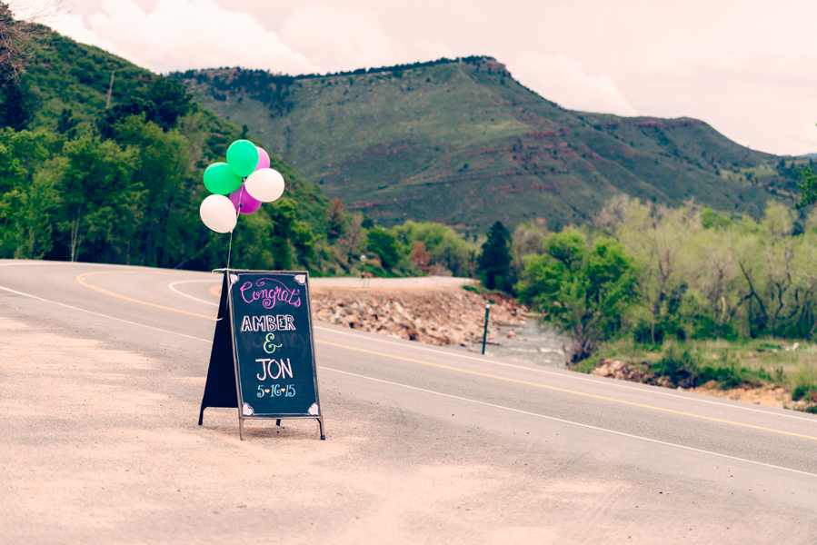 A Wedding Chalkboard Sign with the Colorado Mountains in the background / photo by Annabelle Denmark Photography