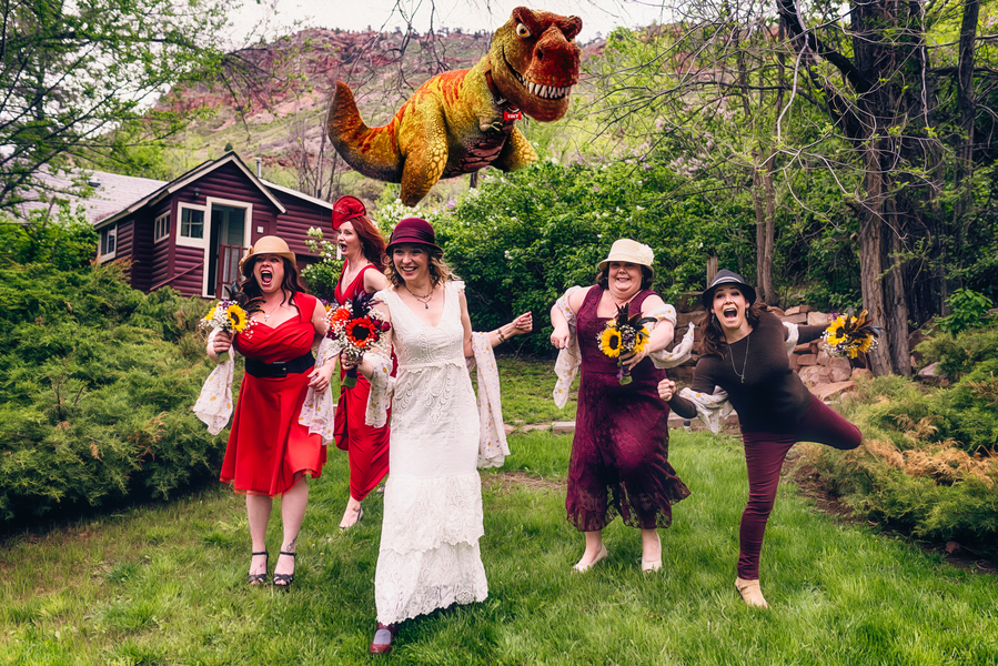 The Dinosaur is After the Bride and her Bridesmaids {edited photo but so fun} / photo by Annabelle Denmark Photography