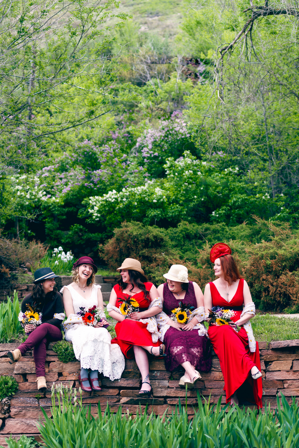 The Bride and her Bridesmaids Wearing Different Dresses / photo by Annabelle Denmark Photography