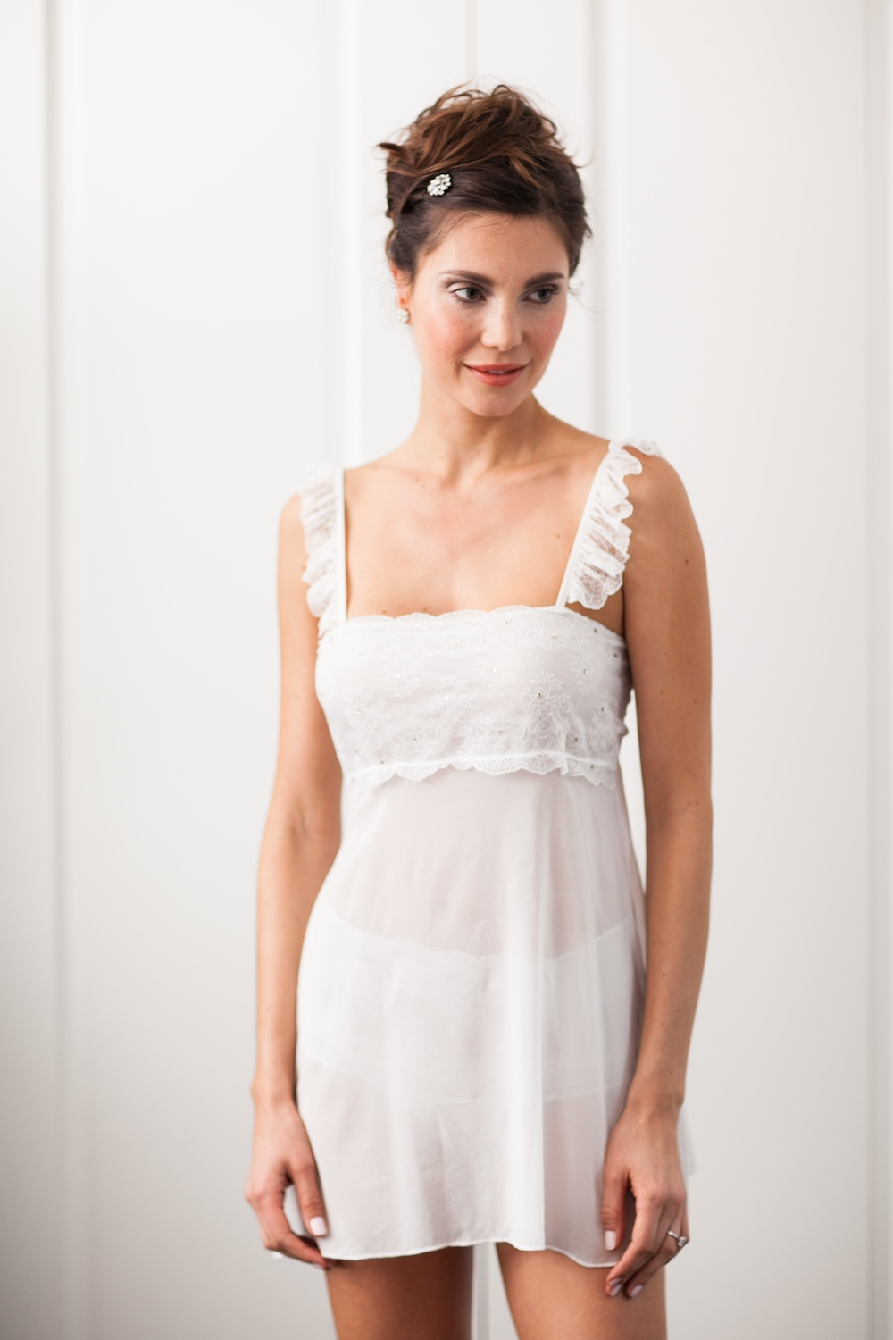 Meg Chemise from The Giving Bride - silk chiffon and French lace embellished with Swarovski crystals