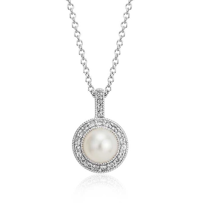 freshwater culture pearl and white topaz halo pendant, $65