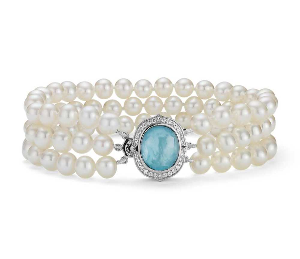 triple-strand freshwater cultured pearl and mother of pearl bracelet, $195