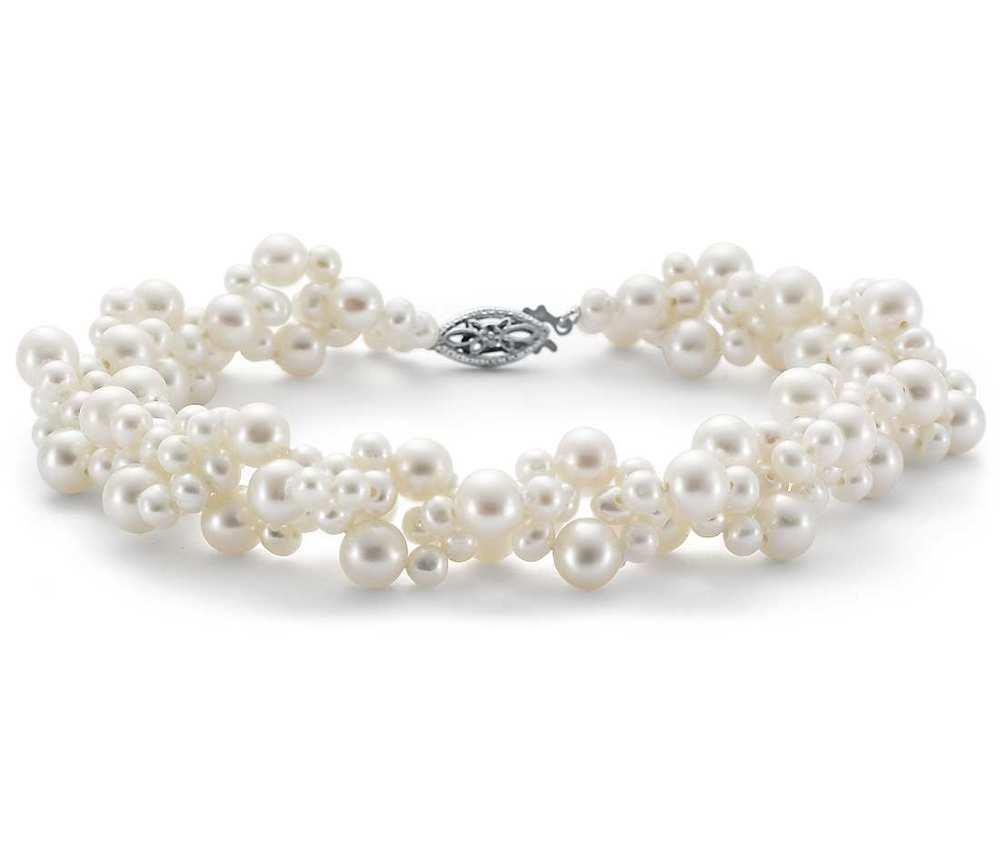 freshwater cultured pearl woven bracelet, $145