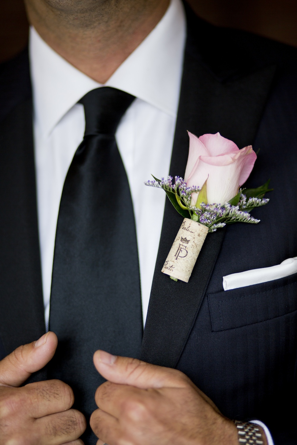 A Wine Cork Boutonniere is a Brilliant Idea for a Wine Themed Wedding / photo by Krista Patton Photography